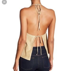 NWT Theory suede halter top Size M